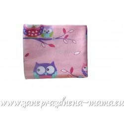 Flanelová plienka celopotlačená, ružové sovičky