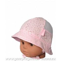 Kojenecký klobúčik, ružový s potlačou kvetiniek