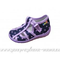 Sandálky, fialové bodky