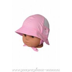 Dievčenský klobúčik ružový s výšivkou