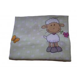 Bavlnená plienka s potlačou, zelené ovečky