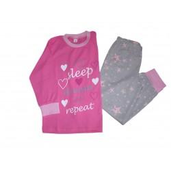 Pyžamo s potlačou – Sleep, tmavo ružové