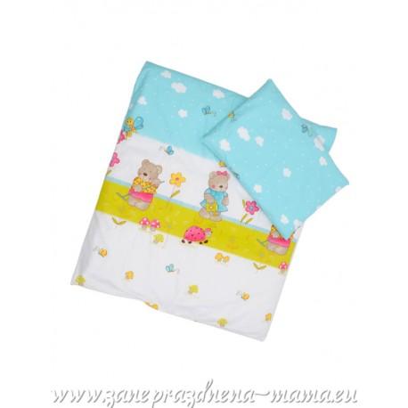 Obliečky macko s motýlikmi, bielo-modré