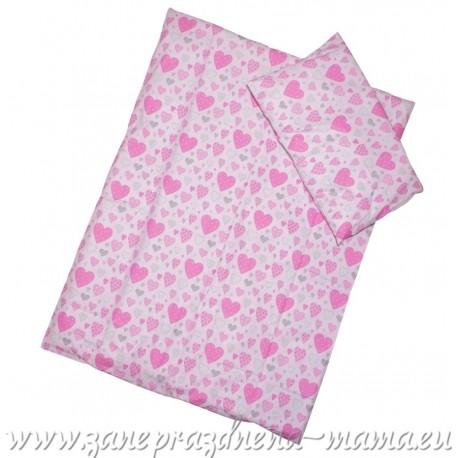 Obliečky srdiečka, ružové