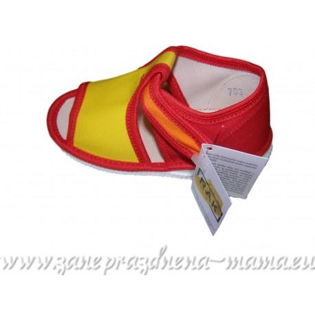 Papučky s otvorenou špičkou, červeno-žlto-oranžové