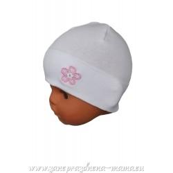 Kojenecká čiapka, biela s kvetinkou