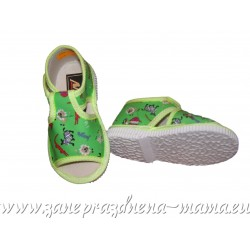 Papučky s otvorenou špičkou, zelené safari