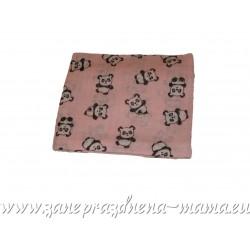 Bavlnená plienka s potlačou, ružové pandy